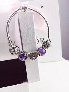 50% OFF!!! $159 Pandora Charm Bracelet Purple Blue. Hot Sale!!! SKU: CB01727 - PANDORA Bracelet Ideas