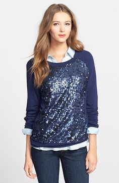 Halogen® Embellished Sweatshirt (Regular & Petite) at Nordstrom.com. A pailette-coated panel adds glamorous shine to a comfy sweatshirt cut for an easy fit.