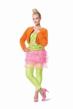 Damen Kostüm Plüsch Bolero neonorange #Karneval #Fasching Party...