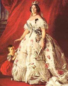 Isabel II en 1852, retratada junto a su hija Isabel. Franz Xaver Winterhalter, Palacio Real de Madrid.