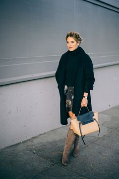 Gal Meets Glam Suede Low Heel Boots - kate spade NY Boots, Max Mara Coat, Theory Sweater, Club Monaco Skirt