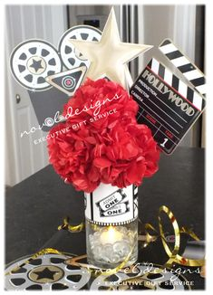 Custom Hollywood Glam Centerpiece-Watch Free Latest Movies Online on Hollywood Party, Hollywood Sweet 16, Hollywood Birthday Parties, Hollywood Theme Weddings, Red Carpet Theme, Red Carpet Party, Movie Night Party, Party Time, Movie Nights