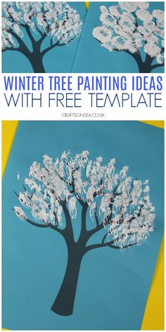 Grab our free template and try some easy winter tree painting ideas for kids Winter Crafts For Toddlers, Winter Activities For Kids, Fun Crafts For Kids, Holiday Activities, Preschool Ideas, Preschool Crafts, Easy Crafts, Winter Trees, Winter Art