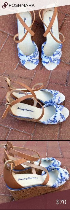 Tommy Bahama Niniva Women's 6 Wedge Heel Sandals Brand New (No Tags) White Blue Floral  Wedge Ankle Strap Sandals [✅ NEW OFFERS ACCEPTED. ❌No trades] Tommy Bahama Shoes Wedges