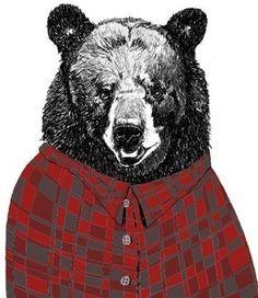 black bear in flannel - donna mckenzie: http://www.etsy.com/people/corelladesign?ref=pr_profile
