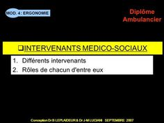 : ERGONOMIE Conception Dr B LEPLAIDEUR & Dr J-M LUCIANI SEPTEMBRE 2007 MOD. 4 Diplôme Ambulancier TITRE DE CHAPITRE INTERVENANTS MEDICO-SOCIAUX 1.Différents. Emergency Medical Technician, September