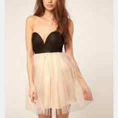 Asos Reverse Dress With Pvc Bustier & Tulle Skirt
