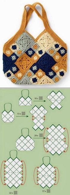 Crochet Squares Afghan, Granny Square Crochet Pattern, Crochet Granny, Crochet Blanket Patterns, Crochet Stitches, Bag Crochet, Crochet Handbags, Crochet Purses, Sac Granny Square