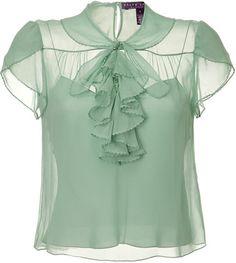 40312b8e34f16b Ralph Lauren Collection  Pale Seafoam Green Georgette Daphne Top Shirt  Blouses