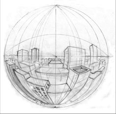 Drawing Tutorial Multiple Point Curvilinear Perspective Drawing Lessons : How to Draw Figures and Buildings and Shapes in Pt Perspective with Easy Tutorials - 2 Point Perspective Drawing, Perspective Art, Perspective Photography, Family Photography, Drawing Techniques, Drawing Tips, Drawing Drawing, Drawing Sketches, City Drawing
