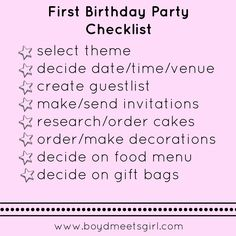 Boyd Meets Girl: First Birthday Party Checklist