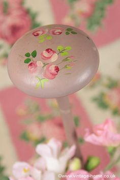 Tiny Hand Painted Roses on a Vintage French Hat Stand: www.vintage-home.co.uk
