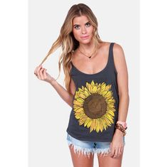 The O'Neill Trippin Grey Sunflower Tank Top captures the spirit of a summer road trip! Charcoal grey tank with scoop neck and a large sunflower on the front. Pretty Outfits, Cute Outfits, Sunflower Shirt, Junior Outfits, Trendy Tops, Just In Case, Cute Dresses, What To Wear, Ideias Fashion