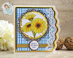 Plaid Mother's Day Card - using Twinkle Lane Designs Gerbera Daisy Digi Stamp and Blue Plaid Digital Paper