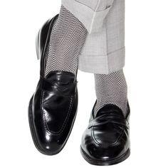 Black and Gray Herringbone Sock OTC