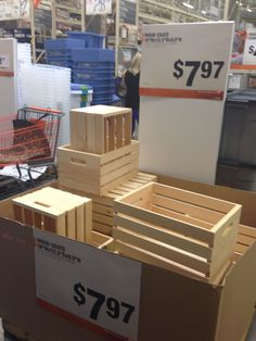 Instead of Michaels or Joann's, buy wooden crates at Home Depot They're is part of Cheap home decor - stain is right around the corner Cheap Home Decor, Diy Home Decor, Cheap Rustic Decor, Wood Crates, Wood Crate Shelves, Crate Desk, Crate Table, Wooden Crates Painted, Upcycled Wooden Crates