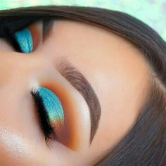 Gorgeous bold metallic turquoise and burnt orange Eyeshadow look