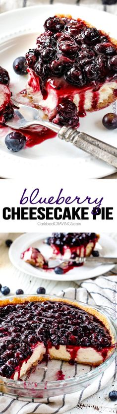 Blueberry Cheesecake Pie - This is my family's favorite dessert and its made extra easy in pie form! The cheesecake is creamy, rich and delicious and the homemade blueberry sauce is sweet and tangy and simply the best ever! via @carlsbadcraving