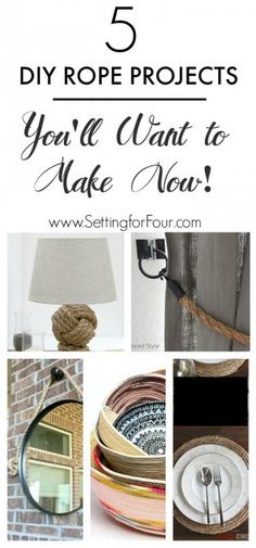 See 5 DIY Rope Projects: you'll want to make NOW!! Add gorgeous TEXTURE to your home decor! www.settingforfour.com