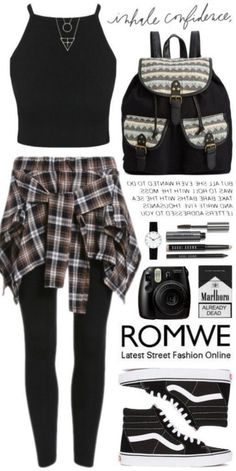 Romwe 3 A fashion look from November 2015 by gorloth featuring Vans, Rampage, Rosendahl, Bobbi Brown Cosmetics, modern and vintage Cute Emo Outfits, Bad Girl Outfits, Punk Outfits, Teenager Outfits, Swag Outfits, Pretty Outfits, Stylish Outfits, Scene Outfits, Grunge Outfits