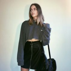Nike Crop Sweater x Leather Skirt Outfit