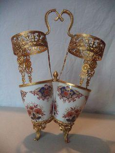 Vintage Limoges French Porcelain Imari Gilt Ormolu Brass Centerpiece Vase Basket
