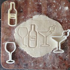 Cocktail party cookie cutter gift set - Wine Bottle - Wine Glass - Martini