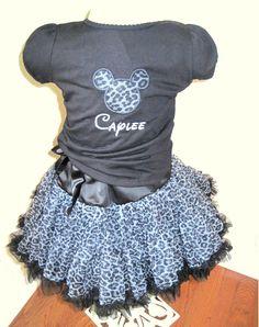 Personalized Disney Outfit Ruffled Shirt and Animal Print Chiffon Pettiskirt. $80.00, via Etsy.