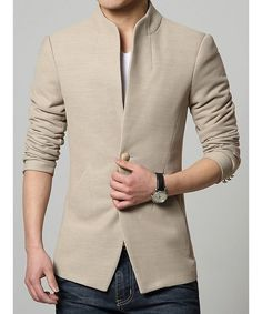 Copy of Stand Collar Single-Breasted Solid Color Simple Long Sleeve Men's Lengthen Coat Dispatch: Ships within 3 business days.FREE SHIPPING
