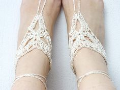 Crochet barefoot sandals Ivory beach wedding sandals by MarryG, $16.00