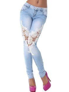 Buy Street Fashion Slim Jeans Lace Pants Woman Long Lace Jeans White/Black/Dark Blue/Light Blue at Wish - Shopping Made Fun Denim Jeans, Lace Jeans, Blue Ripped Jeans, Jeans Skinny, Jeans Pants, Sexy Jeans, Jeans Leggings, Denim And Lace, Casual Jeans