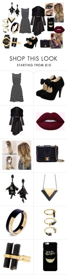 """""""First Date: Fall Dinner"""" by roxy-crushlings on Polyvore featuring BCBGMAXAZRIA, Chanel, Oscar de la Renta, Marni, Noir Jewelry, House of Harlow 1960 and Gucci"""