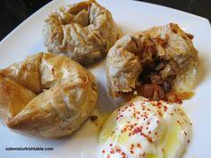 Turkish vegetarian rose ravioli with filo pastry; mushrooms make a delicious filling.