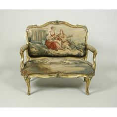 Canapé with Gilt and Polychrome Frames and Beauvais Tapestry, c.1760  dyed wool and silk yarns on wool & gilt walnut Nicolas Heurtaut (1720-1771)