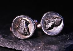 Solid Silver Cufflinks Set With Real Iron Meteorite