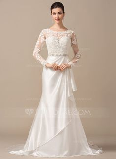 Trumpet/Mermaid Scoop Neck Sweep Train Charmeuse Lace Wedding Dress With Beading Cascading Ruffles (002066971) - JJsHouse