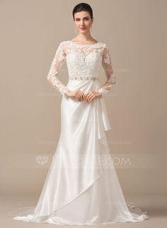 Trumpet/Mermaid Scoop Neck Sweep Train Charmeuse Lace Wedding Dress With Beading Cascading Ruffles (002066971) - JJsHouse