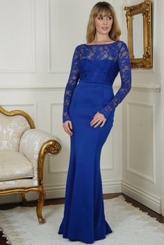 Billie Royal Blue Open Back Maxi Dress with Bow Detail