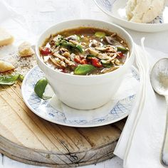 Chicken-lentil soup (ideasmag.co.za)  For veggies: replace chicken by quorn pieces or tofu (and use vegetable stock instead of chicken stock)