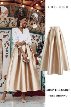 Luxurious Night Bowknot Pleated A-Line Skirt Fashion Mode, Look Fashion, Unique Fashion, Hijab Fashion, Fashion Dresses, Womens Fashion, Chic Fall Fashion, Mode Outfits, Skirt Outfits