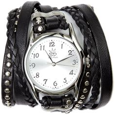 Sara Designs Black And Silver Studded Leather Wrap Watch ($227) ❤ liked on Polyvore