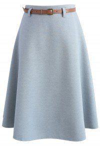 Mild Dusty Blue Wool-blend A-line Skirt