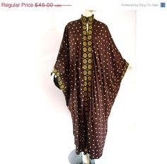 EVERYTHING ON SALE Vintage 70s Boho Chic Caftan  Maxi Dress Hippie Festival Silky Brown Gold Tapestry Trim. $38.25, via Etsy. Vintage Dresses, Vintage Outfits, Vintage Clothing, Hippie Festival, Hippie Dresses, 70s Fashion, Vintage 70s, Designer Dresses, Boho Chic