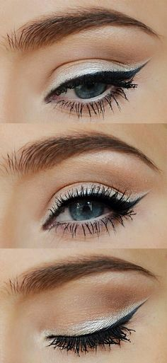 contrasting eyeliner and white shadow makes eyes pop