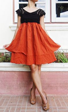 Orange .....Orange Mini  Dress Cotton on Etsy, $31.98 CAD