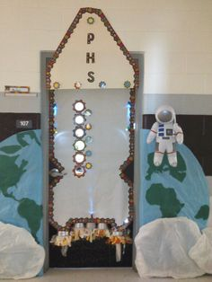 Welcoming door for space theme classroom