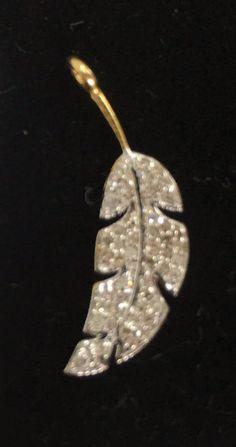 "14 k Gold Leaf Shape Diamond Pendants. Genuine handmade pave diamond Pendant. Approx Size 0.92""(7 x 23 mm)"