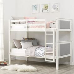 Provide your guest room of kids' bedroom with a space-saving sleeping area in the Dorel Living Echo Twin over Twin Upholstered Bunk Bed . This modern. Bunk Beds For Girls Room, Twin Bunk Beds, Kids Bunk Beds, Girls Bedroom, Bedroom Ideas, Master Bedroom, Double Loft Beds, Double Deck, Childrens Bedroom Furniture