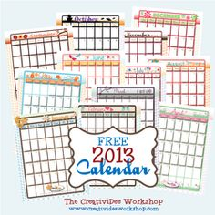 Probably my FAVORITE calendar template of all I've found so far - 2013 calendar by month with monthly themed pages for weekly schedule, grocery shopping list, and meal planning page