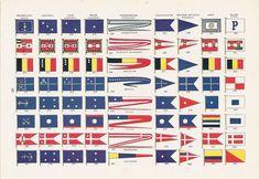 Naval Flags of the World, Argentina, Austria Hungary, Belgium, Brazil. Chile, China, Denmark, Ecuador, Navy, Military, Patriotic, 1917. via Etsy.